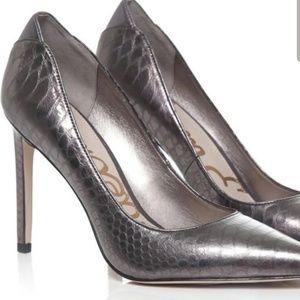 Sam Edelman Dea Heels Silver Metallic Pewter 10